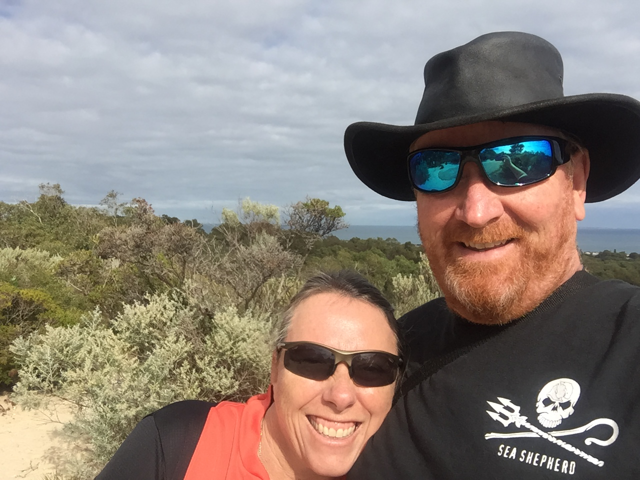 The great ocean views make you smile at Bold Park (Rottnest Island in background)