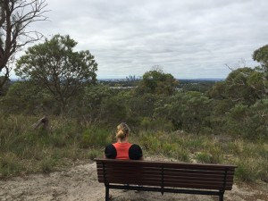 Jo takes in the magnificent view of Perth